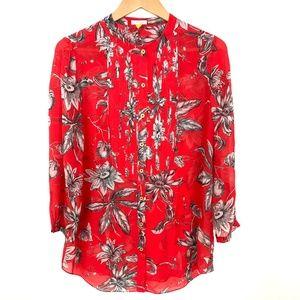 Anthropologie Leifsdottir Silk Floral Red Blouse